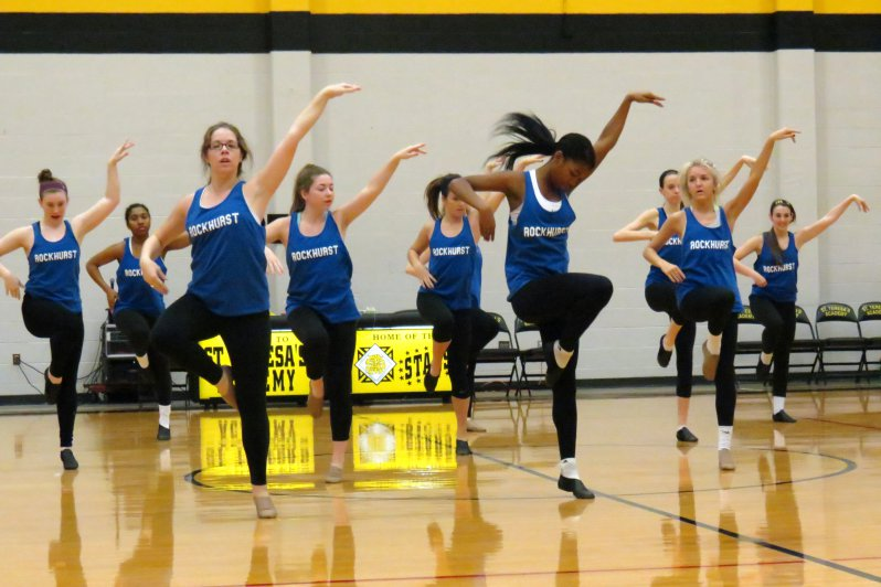 The varsity dance team practices Jan. 17 in the Goppert Center. The team practices three or four times during the week and has competitions most Saturdays. Photo by Katie Hornbeck