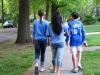 STA freshmen Meghan Ehrnman, from left, Olivia Bellatin, and Rockhurst freshman Sam Scovell lead their friends towards Waldo. The group set out around 8 pm and walked until 10 pm.  By Sinead McGonagle