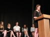 Sophomore Maggie Herrington speaking at the Woodsmen speech contest on May 3.