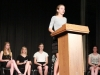 Sophomore Natalie Rall speaking at the 2012 Woodsmen speech contest held at STA in the auditorium.