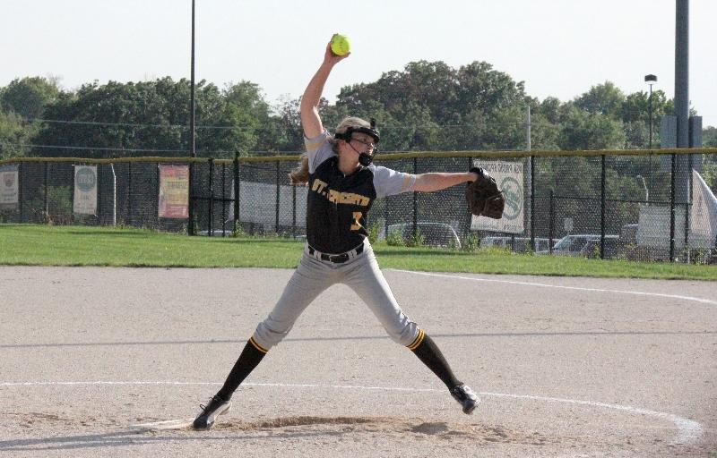 STA sophomore Maddie Watts pitches during the varsity team's game against St. Pius Sept. 18 at Tiffany Hills Park. STA beat St. Pius 19-0.