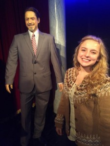 Sophomore Mackenzie O'Guin stands next to a wax sculpture in Robert Downey Junior's likeness. O'Guin was severely dismayed by fake Downey's hair.